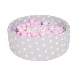 Suchy basen dla dziecka 90x40 cm + 200 piłek - jasnoszary w gwiazdki