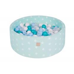 Suchy basen dla dziecka 90x40 cm + 200 piłek - miętowy w gwiazdki