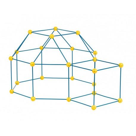 Zwariowany namiot, zestaw konstrukcyjny do budowy bazy - niebiesko-żółty