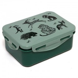 Petit Monkey - Śniadaniówka Lunchbox Black Animals Salie