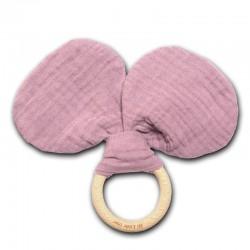 Hi Little One - gryzak z grzechotką szeleszczącą z organicznej BIO bawełny GOTS Mouse teether with rustling rattle Blush