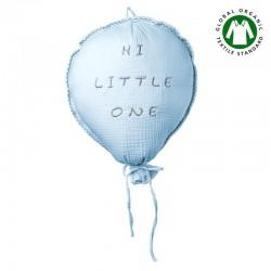 Hi Little One - Poduszka dekoracyjna z organicznego oddychającego BIO muślinu GOTS BALOON BABY BLUE