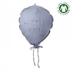 Hi Little One - Poduszka dekoracyjna z organicznego oddychającego BIO muślinu GOTS BALOON GREY