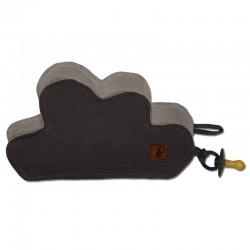 Hi Little One - Przytulanka dou dou z zawieszką z organicznej BIO bawełny GOTS cozy muslin pacifier keeper Cloud Iron