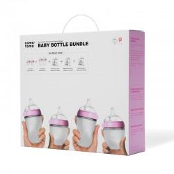 COMOTOMO - 4 Antykolkowe butelki silikonowe MOM'S BREAST Pink BUNDLE