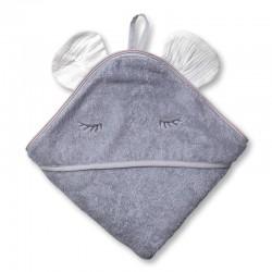 Hi Little One - Ręcznik z kapturem 100 x 100 MOUSE hooded bath towel White