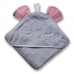Hi Little One - Ręcznik z kapturem 100 x 100 MOUSE hooded bath towel BLUSH