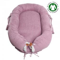 Hi Little One - Kokon gniazdko dla Noworodka z organicznego oddychającego BIO muślinu GOTS NEWBORN NEST BABY PINK