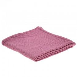 Hi Little One - Otulacz muślinowy 100 x 100 cm z organicznej BIO bawełny GOTS muslin swaddle Baby Pink Dark