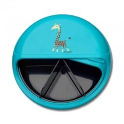Carl Oscar Small SnackDISC™ 5 komorowy obrotowy pojemnik na przekąski Turquoise - Giraffe