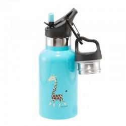 Carl Oscar TEMP Bottle - Butelka termiczna ze słomką ze szlachetnej stali nierdzewnej Turquoise - Giraffe
