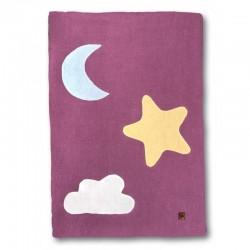Hi Little One - Kołderka do łóżeczka z oddychającej BIO bawełny organicznej GOTS Day & Night Lavender