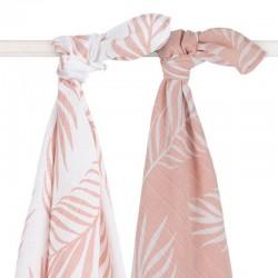 Jollein - 2 otulacze niemowlęce Hydrophilic 115 x 115 cm Nature Pale Pink