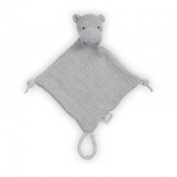 Jollein - przytulanka dou dou z zawieszką na smoczek Hippo Grey