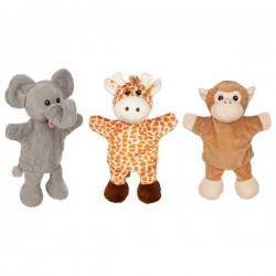 Pacynki z nóżkami - żyrafa, małpka, słoń