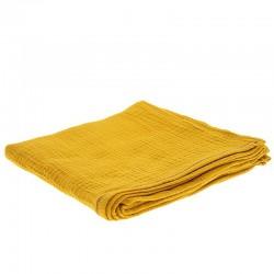 Hi Little One - Otulacz muślinowy 100 x 100 cm z organicznej BIO bawełny GOTS muslin swaddle Mustard