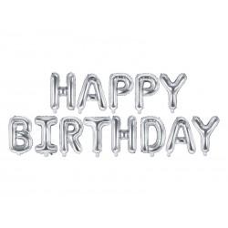 Balon foliowy Happy Birthday, 340x35cm, srebrny