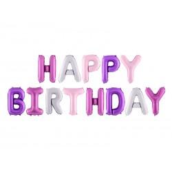 Balon foliowy Happy Birthday, 340x35cm, mix (1 karton / 50 szt.)