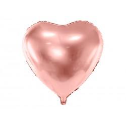 Balon foliowy Serce, 45cm, różowe złoto (1 karton / 50 szt.)