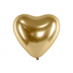 Balony Glossy 30cm, Serca, złoty (1 op. / 50 szt.)