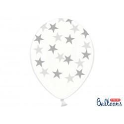 Balony 30cm, Gwiazdki, Crystal Clear (1 op. / 6 szt.)
