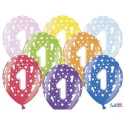 Balony 30cm, 1st Birthday, Metallic Mix (1 op. / 6 szt.)