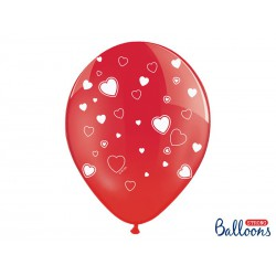 Balony 30cm, Serca, Crystal Poppy Red (1 op. / 50 szt.)