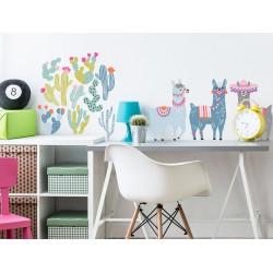 Naklejki na ścianę - Lamy - pastelowe