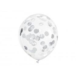 Balony z konfetti - kółka, 30cm, srebrny (1 op. / 6 szt.)