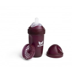 Herobility - butelka antykolkowa Herobottle 240 ml, bordowa + smoczek M (2 m+)