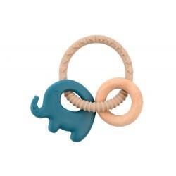 Gryzak silikonowy Niebieski Słoń z drewnianą obręczą