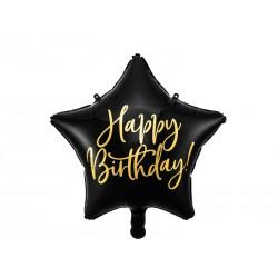 Balon foliowy Happy Birthday, 40cm, czarny (1 karton / 50 szt.)