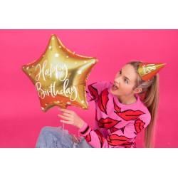 Balon foliowy Happy Birthday, 40cm, złoty