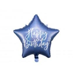 Balon foliowy Happy Birthday, 40cm, granat
