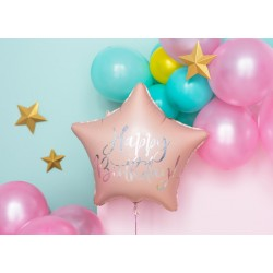 Balon foliowy Happy Birthday, 40cm, jasny pudrowy róż (1 karton / 50 szt.)