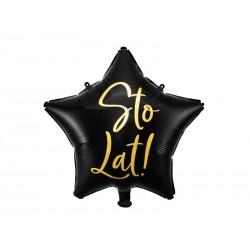 Balon foliowy Sto Lat!, 40cm, czarny (1 karton / 50 szt.)