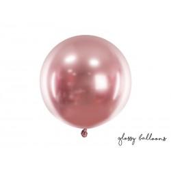 Balon okrągły Glossy 60cm, różowe złoto
