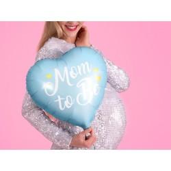 Balon foliowy Mom to Be, 35cm, niebieski (1 karton / 50 szt.)