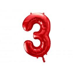 Balon foliowy Cyfra ''3'', 86cm, czerwony (1 karton / 50 szt.)