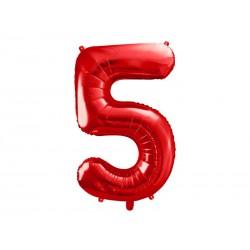 Balon foliowy Cyfra ''5'', 86cm, czerwony (1 karton / 50 szt.)