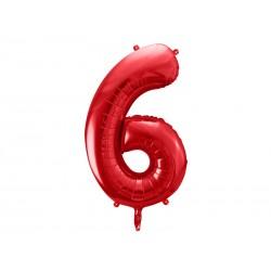 Balon foliowy Cyfra ''6'', 86cm, czerwony (1 karton / 50 szt.)