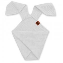 Hi Little One - Pieluszka dou dou uszami królika z organicznej BIO bawełny GOTS cozy muslin with ears 2in1 White
