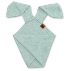 Hi Little One - Pieluszka dou dou uszami królika z organicznej BIO bawełny GOTS cozy muslin with ears 2in1 Mint