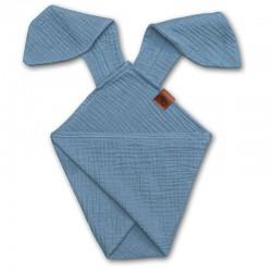 Hi Little One - Pieluszka dou dou uszami królika z organicznej BIO bawełny GOTS cozy muslin with ears 2in1 Baby blue