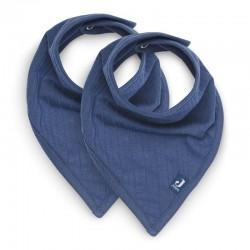 Jollein - 2 śliniaki bandany Basic Stripe Jeans Blue