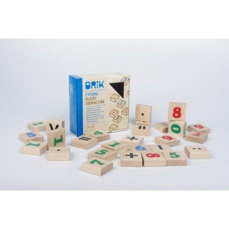 Klocki drewniane cyferki 27szt. (54 cyferki), nauka i zabawa w jednym