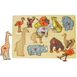 Puzzle drewniane z uchwytami układanka Zwierzęta
