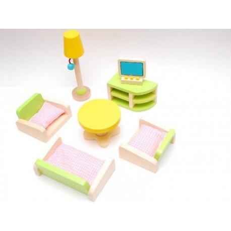 Drewniane mebelki do salonu wyposażenie domków dla lalek