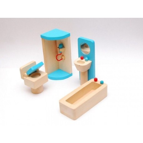 Drewniane mebelki do łazienki wyposażenie domków dla lalek