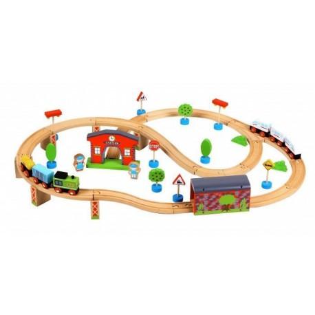 Kolejka drewniana ze stacją + dwa pociągi